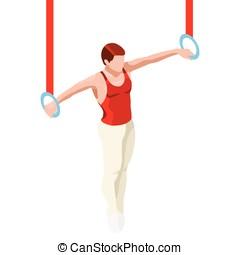 Gymnastics Still Rings 2016 Sports 3D Vector Illustration