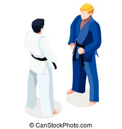 Judo Fight 2016 Sports 3D Isometric Vector Illustration -...