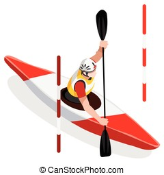 Kayak Slalom 2016 Sports Isometric 3D Vector Illustration -...