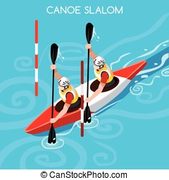 Kayak Slalom Double 2016 Summer Games Isometric 3D Vector...