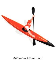 Kayak Sprint Sports Isometric 3D Vector Illustration - Kayak...