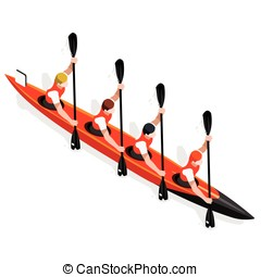 Kayak Sprint Four 2016 Sports 3D Vector Illustration - Kayak...