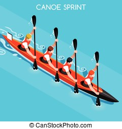 Kayak Sprint Four 2016 Summer Games 3D Vector Illustration -...