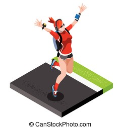 Marathon Runners Gym Working Out 3D Flat Vector Image -...