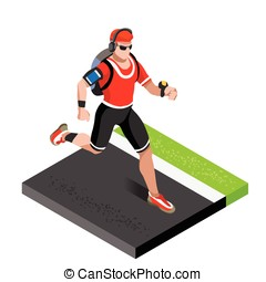 Marathon Runners Gym Working Out 3D Isometric Vector Image -...