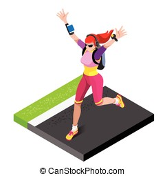 Marathon Runners Gym Working Out Isometric 3D Vector Image -...