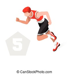 Pentathlon 2016 Sports 3D Isometric Vector Illustration -...
