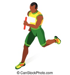 Running Relay 2016 Sports 3D Isometric Vector Illustration -...