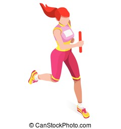 Running Relay Sports Isometric 3D Vector Illustration -...