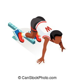 Running Starting Line Kids Sports Isometric Vector Image -...