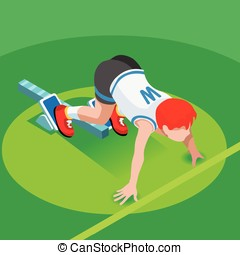 Running Starting Line Kids Marathon 3D Isometric Vector...