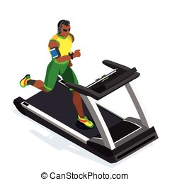 Treadmill Fitness Class Working Out 3D Flat Vector Image