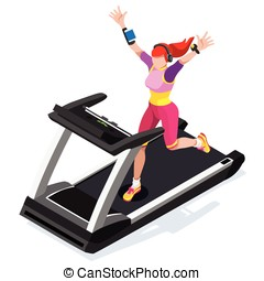 Treadmill Fitness Class Working Out 3D Isometric Vector...