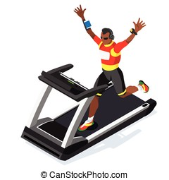 Treadmill Fitness Class Working Out Isometric Vector Image -...