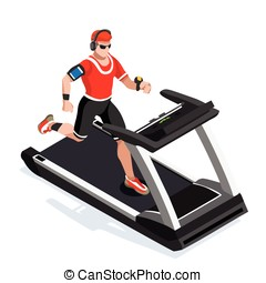 Treadmill Gym Class Working Out Isometric Vector Image -...