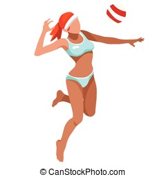 Volleyball Beach Sports 3D Vector Illustration