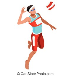 Volleyball Beach 2016 Sports Isometric 3D Vector Illustration