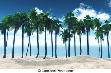 3D palm tree landscape