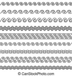 vector wave line pattern borders set