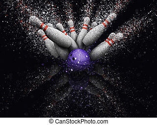 3D bowling skittles with glitter effect