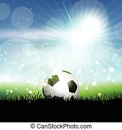 Soccer ball in grassy landscape - Soccer ball nestled in...