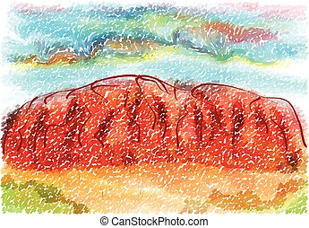 ayers rock. abstract illustration on multicolor background