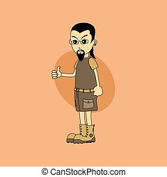 male cartoon character thumb up gesture theme vector art...