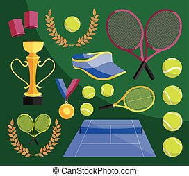 Tennis set icons - Colorful vector illustration of various...