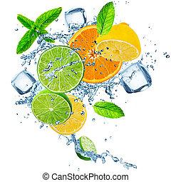 上に, フルーツ, 水, はね返し, 新たに, 白