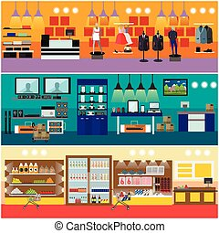 Shopping in a mall concept vector banner. Consumer...