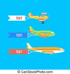Aeroplane, planes and biplane. Set of colorful flat...