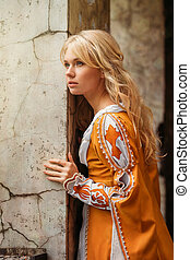 Woman in medieval dress - Beautiful blond woman in medieval...