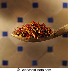 Saffron - Spoon filled with saffron