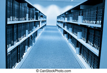 Book shelfs in university library with large collection
