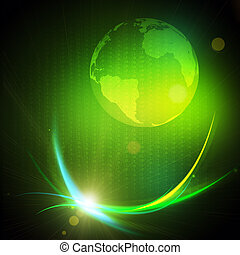 Gravitaional wave burst, computer generated abstract green...