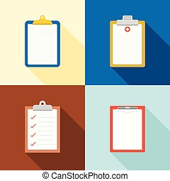 clipboard icon, medical chart, checklist, blank Chart flat...