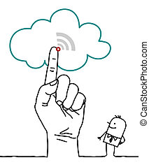 big hand and cartoon characters - the cloud