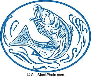oval, Arriba, Saltar, dibujo,  Rockfish