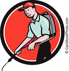 Pest Control Exterminator Spraying Circle Cartoon -...