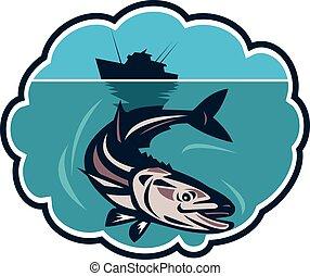 Cobia Fish Fishing Boat Bubble Retro