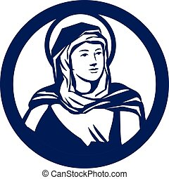 Blessed Virgin Mary Circle Retro - Illustration of the...