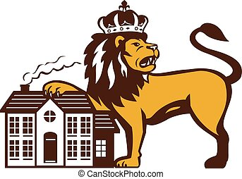 King Lion Paw on House Isolated Retro