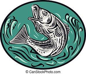 Rockfish, Saltar, Color, oval, dibujo,