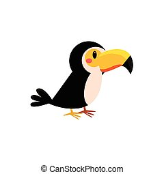 Toy Toucan Bird Cute Childish Style Bright Color Design Icon...