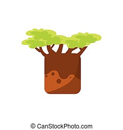 Baobab Tree Drawing Cute Childish Style Bright Color Design...
