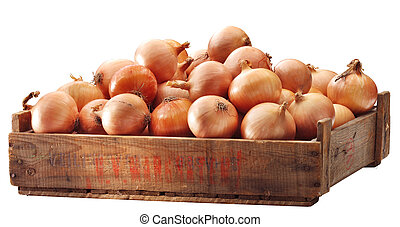 Crate of brown onions