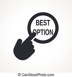 Vector hand with touching a button icon with word Best...