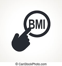 Vector hand with touching a button icon with word BMI on...