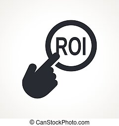 Vector hand with touching a button icon with word ROI on...