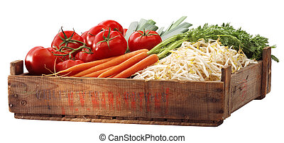 Crate tomatous and other vegetables - crate of tomatous